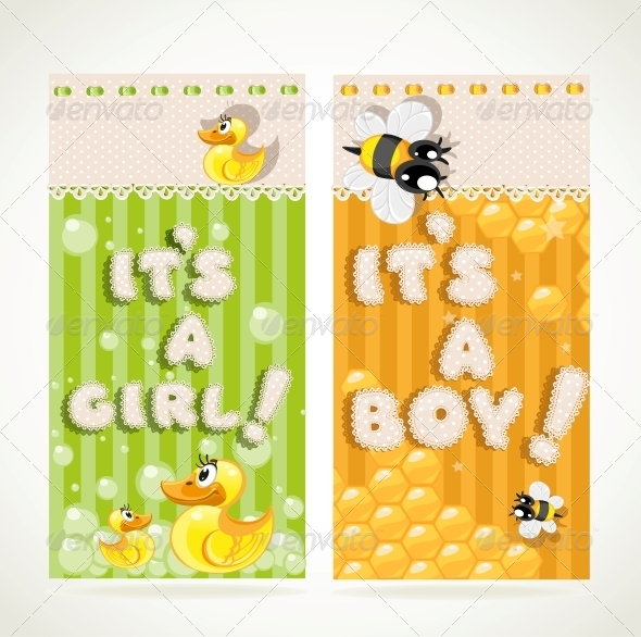 GraphicRiver Yellow and Green Vertical Baby Banners 6284619