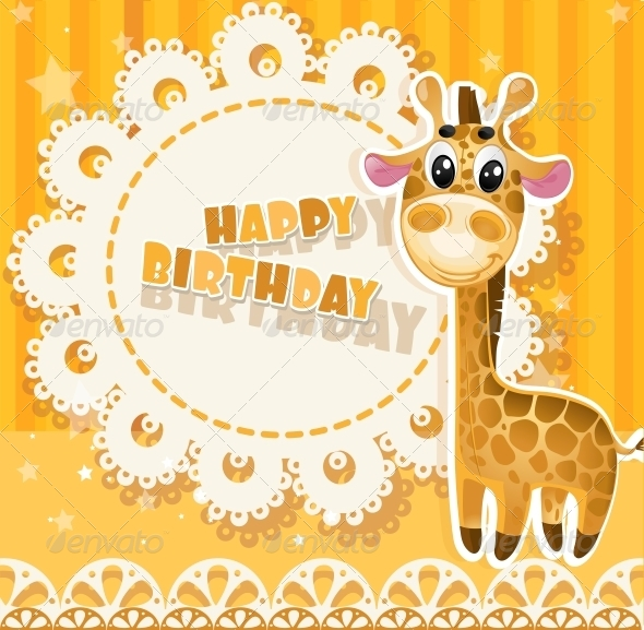 GraphicRiver Happy Birthday Yellow Openwork Card 6284668