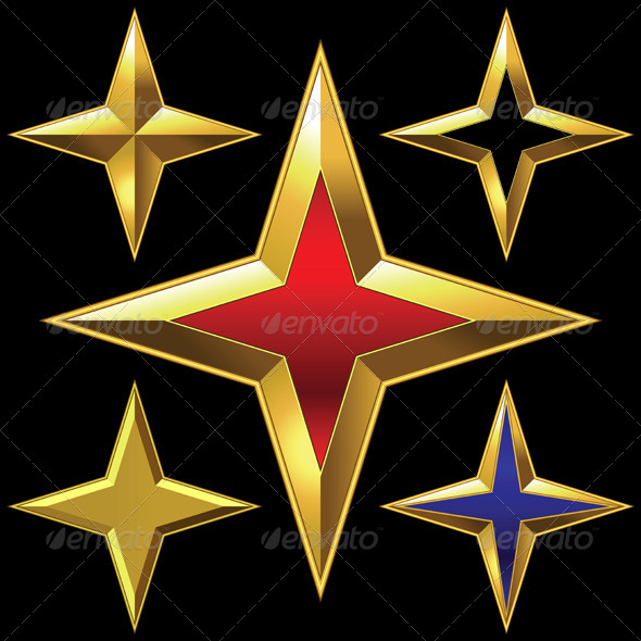 GraphicRiver Set of Golden Shiny Four-Point Stars 6284938