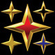 Set of Golden Shiny Four-Point Stars - GraphicRiver Item for Sale