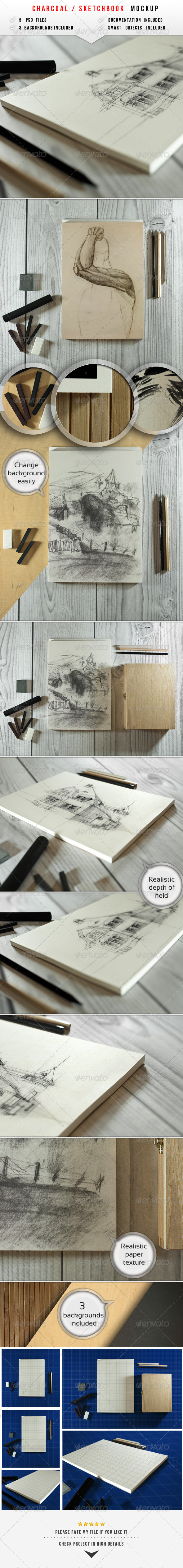 Sketch & Charcoal Mockup - Miscellaneous Product Mock-Ups