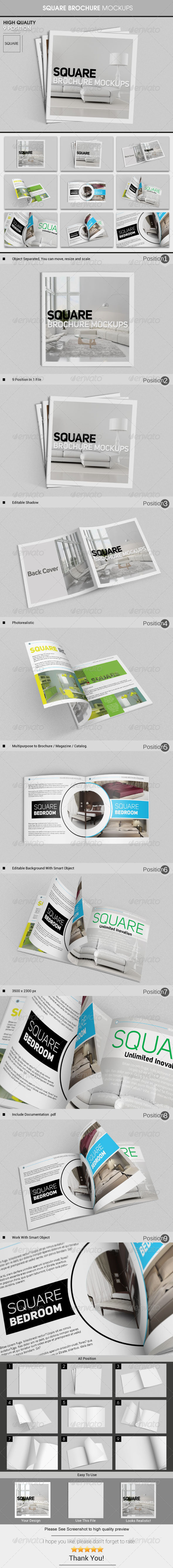 GraphicRiver Square Brochure Mockups 6286053