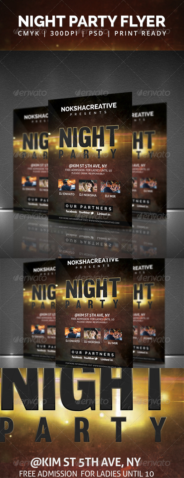 GraphicRiver Night Party Flyer 5912340
