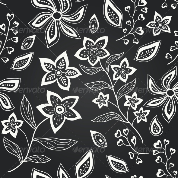 GraphicRiver Vector Chalkboard Seamless Floral Pattern 6286870