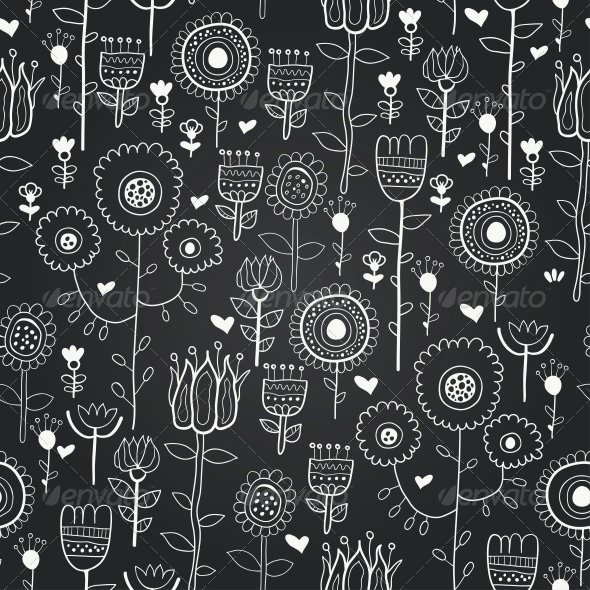 GraphicRiver Vector Chalkboard Seamless Floral Pattern 6286889