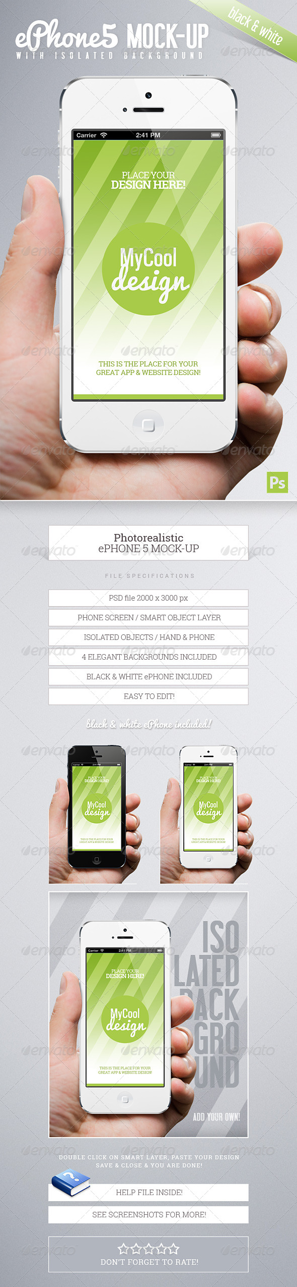 Photorealistic ePhone5 Mock-Up - Mobile Displays