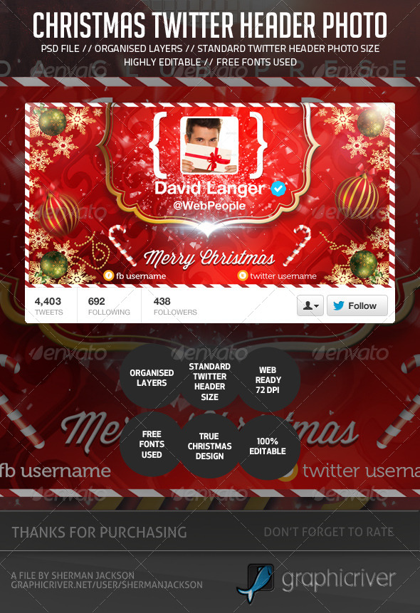 GraphicRiver Chirstmas Holidays Twitter Header Photo 6288145