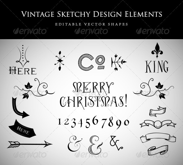Vintage Sketchy Design Elements - Decorative Symbols Decorative