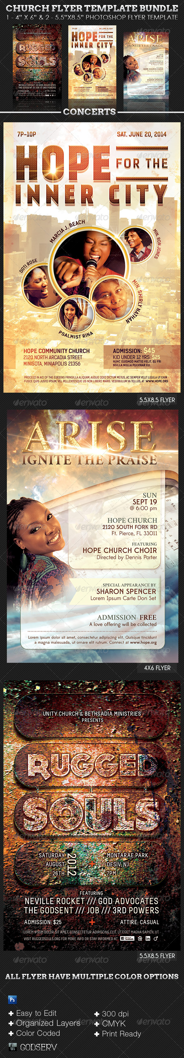 GraphicRiver Church Flyer Template Bundle Concerts 6288321