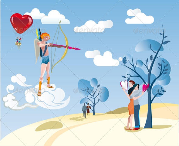 GraphicRiver Cupid and a Loving Couple 6288523