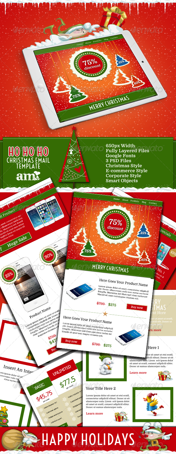 GraphicRiver Ho Ho Ho Holiday Business Email Template PSD 6265512