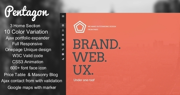 ThemeForest Pentagon Unique Responsive Onepage template 6288840