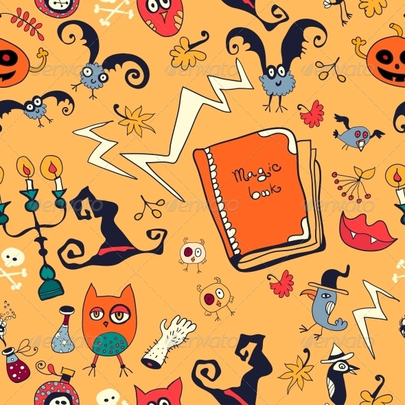 GraphicRiver Halloween Hand Drawn Pattern with Monsters 6288918