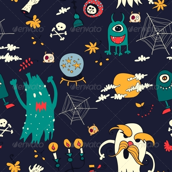GraphicRiver Halloween Hand Drawn Seamless Retro Pattern 6288919