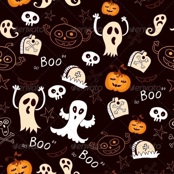 Seamless Halloween with Ghosts and Pumpkins