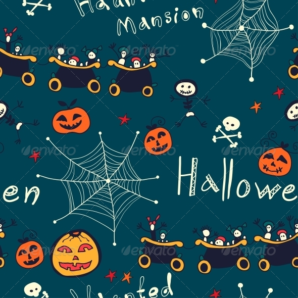 GraphicRiver Halloween Hand Drawn Seamless Retro Pattern 6288939