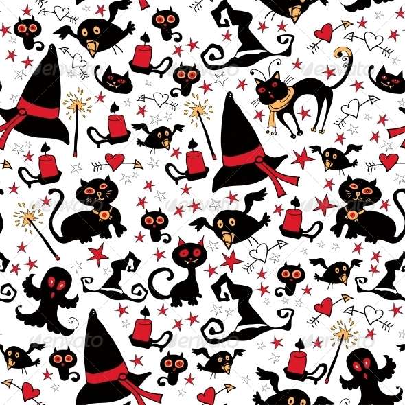 Halloween Seamless Pattern with Witch Things