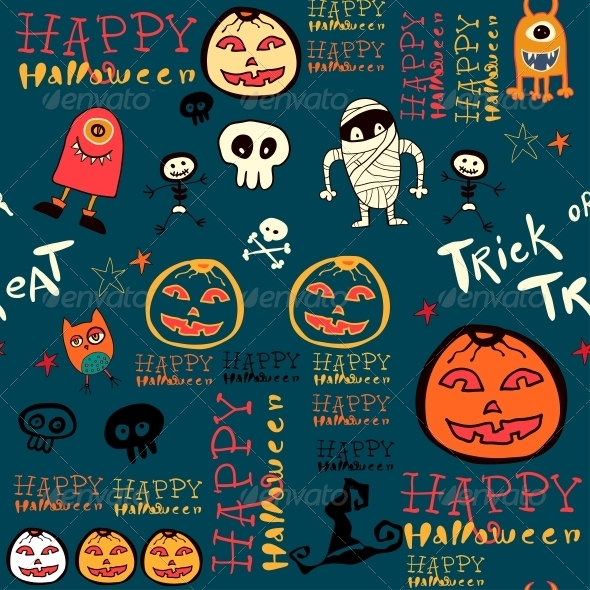 GraphicRiver Halloween Background with Bats and Pumpkin 6288955