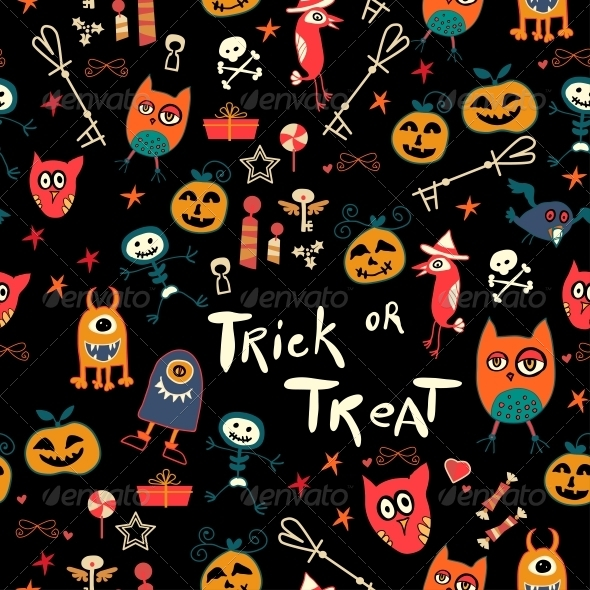 GraphicRiver Halloween Seamless Trick-or-Treat Pattern 6288966