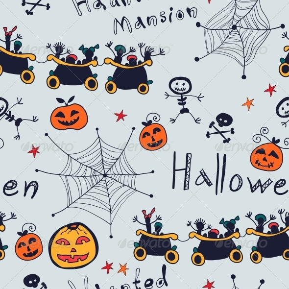 GraphicRiver Halloween Cartoon Seamless Retro Pattern 6288975
