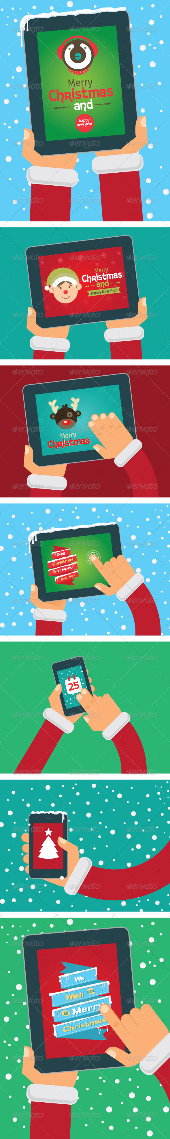 GraphicRiver Vector Christmas Cards on Tablet and Phone 6289121