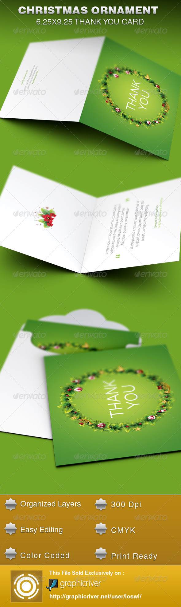GraphicRiver Christmas Ornament Thank You Card Template 6289656