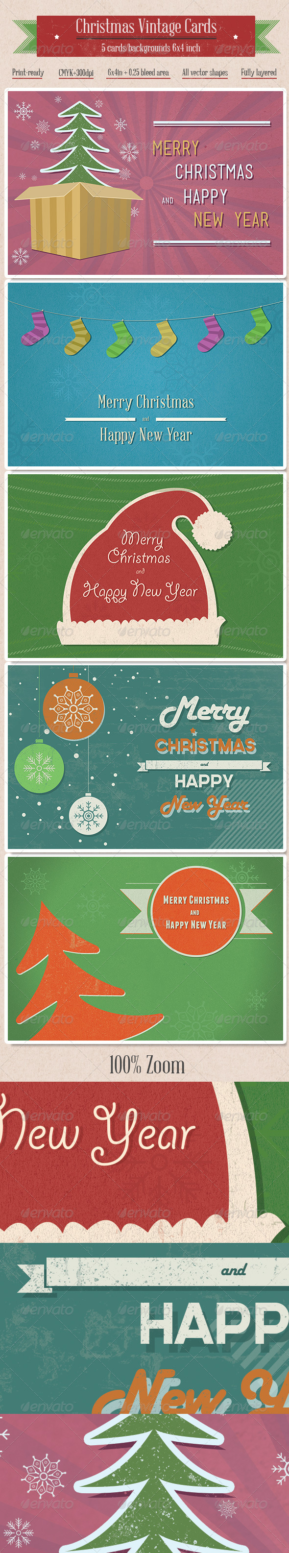 5 Vintage Christmas Cards/Backgrounds