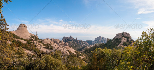 Mountains of Montserrat panorama, Catalonia, Spain - Stock Photo - Images