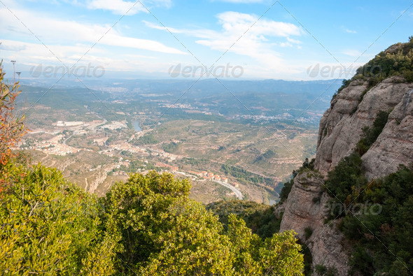 Monistrol de Montserrat the village under monastery, Spain - Stock Photo - Images