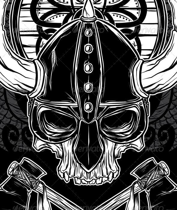 Vector Hand Drawn Viking Skull, Axe, and Shield by monochromefrog ...
