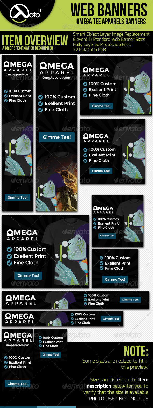 Omega Apparel with Tee Previews - Banners & Ads Web Elements