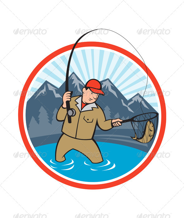 GraphicRiver Fly Fisherman Catching Trout Fish Cartoon 6290169