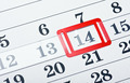 calendar with red mark on 14 February