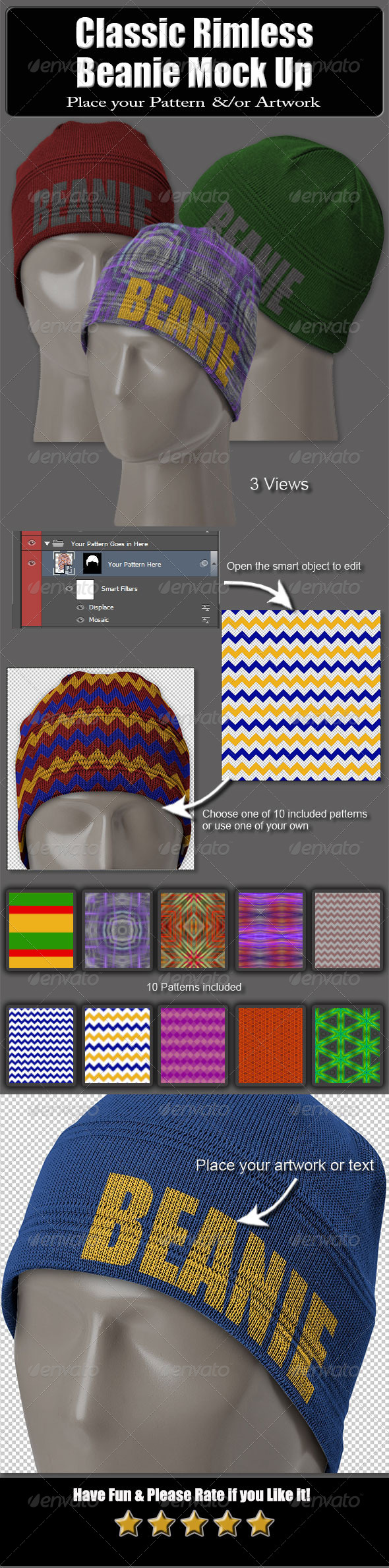 GraphicRiver Classic Rimless Beanie Mock Up 6290195