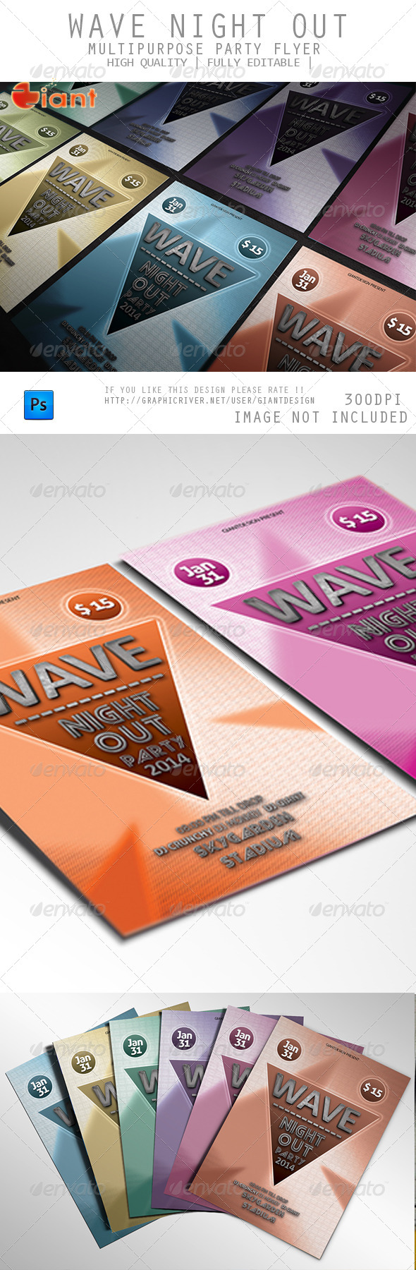 GraphicRiver Wave Night Out Multipurpose Party Flyer 6290653
