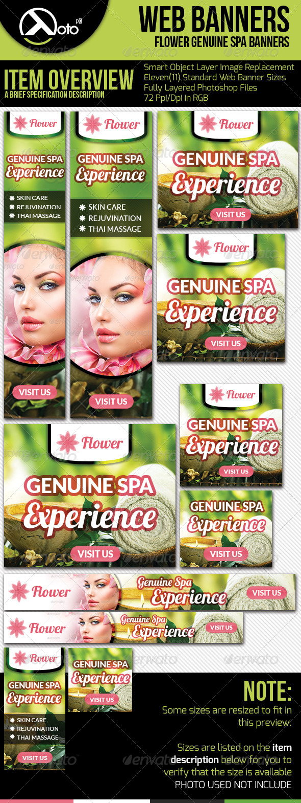 Flower Spa Holistic Healing Web Banners - Banners & Ads Web Elements