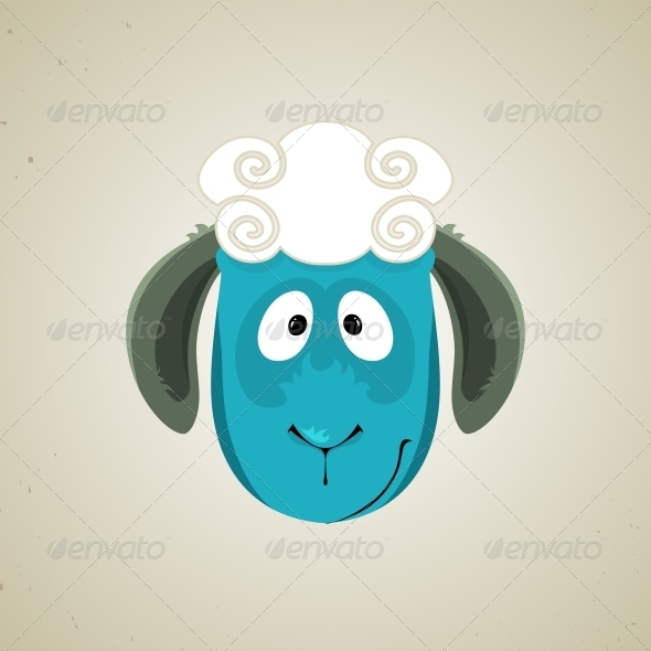 GraphicRiver Head of the Cute Cartoon Smiling Sheep 6293621