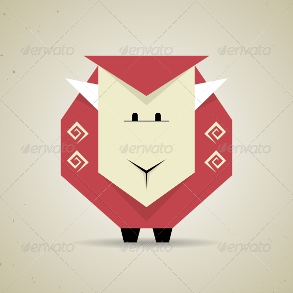 GraphicRiver Origami Geometric Sheep from Folded Paper 6293623