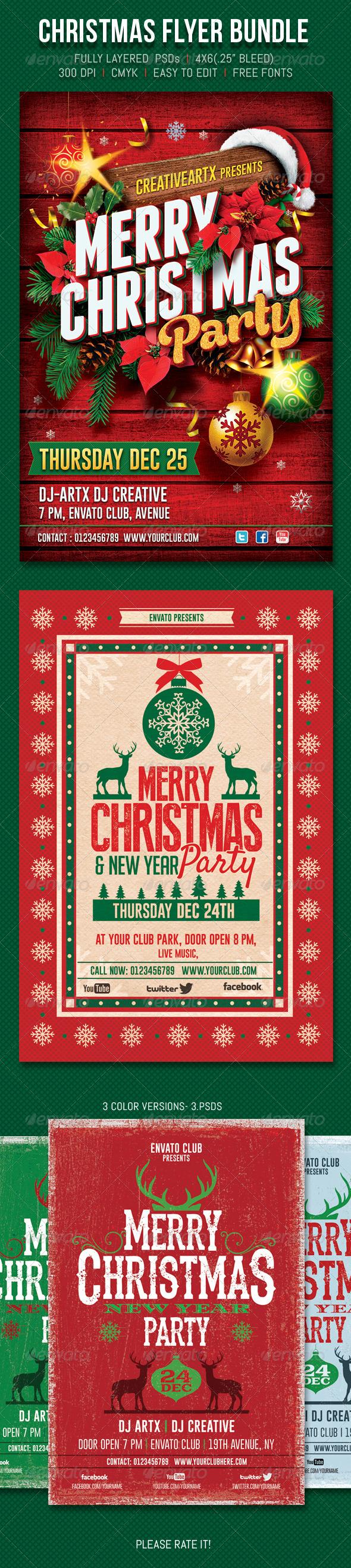 GraphicRiver Christmas Flyer Bundle 6293630