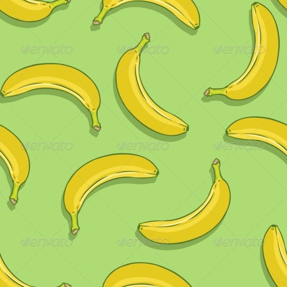 GraphicRiver Vector Seamless Pattern of Bananas on Green Background 6293784