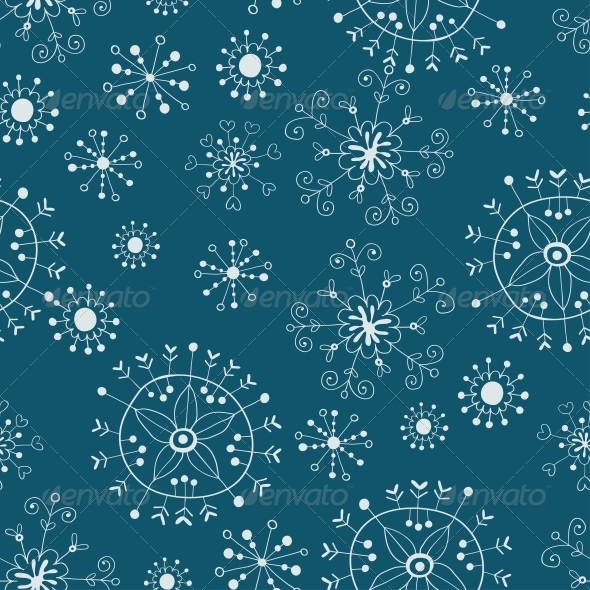 GraphicRiver Snowflake Seamless Background 6293788