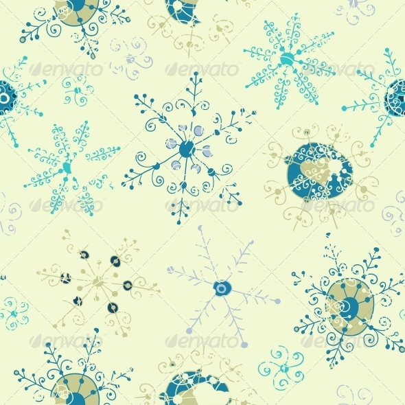 GraphicRiver Ornate Snowflake Seamless Background 6293912