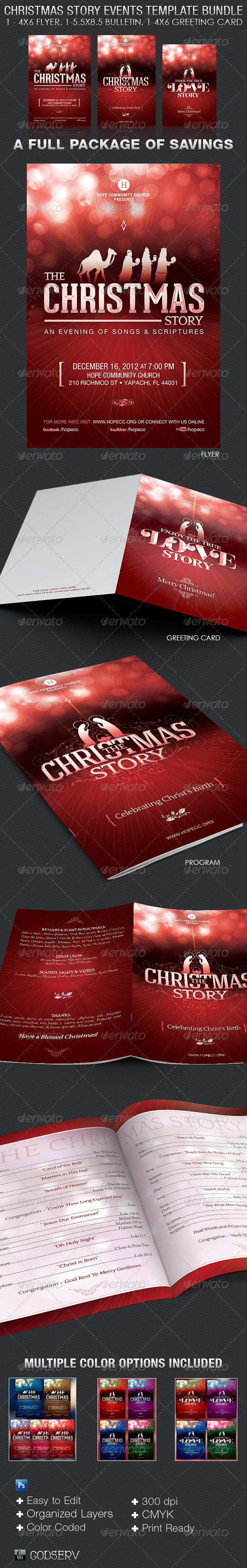 Christmas Story Event Template Bundle - Church Flyers