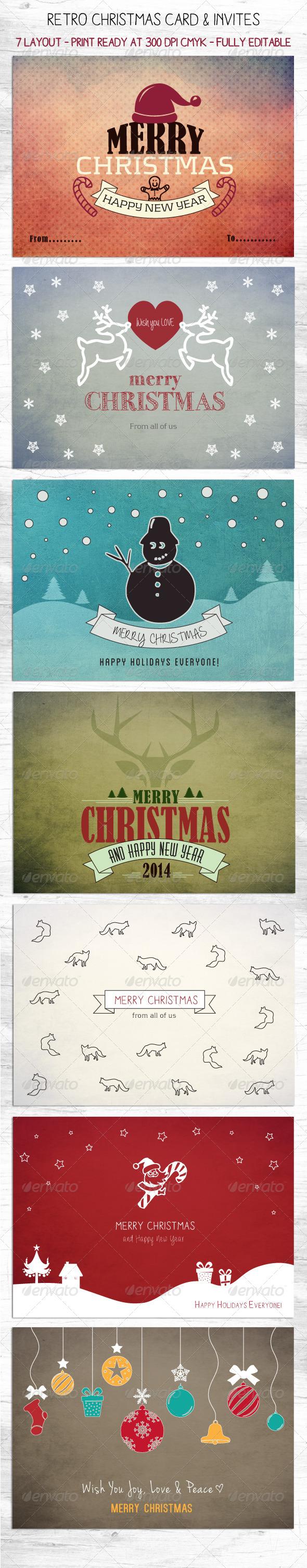 GraphicRiver Retro Christmas Card & Invites 6295455