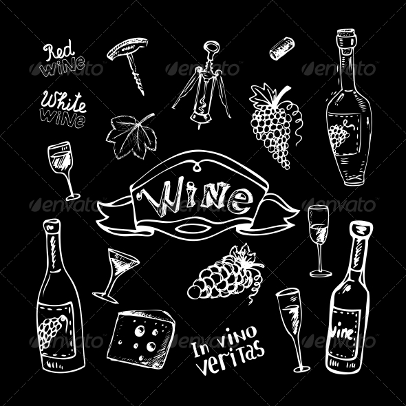 GraphicRiver Wine Set on Chalkboard 6295581