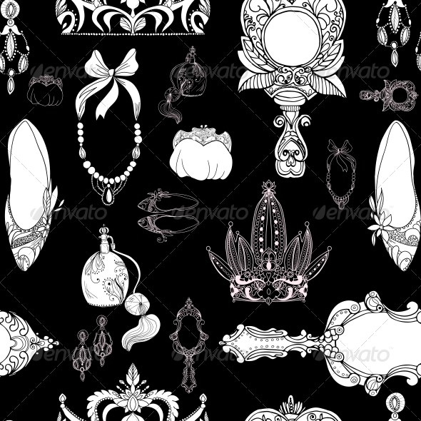 GraphicRiver Seamless Princess Accessories on Black 6295621