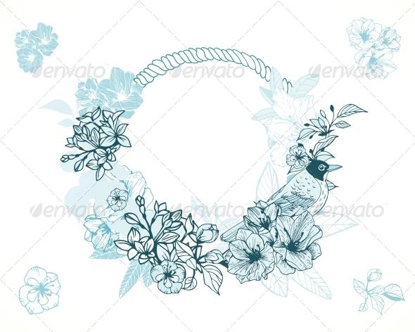 GraphicRiver Pastel Romantic Floral Frame 6295633
