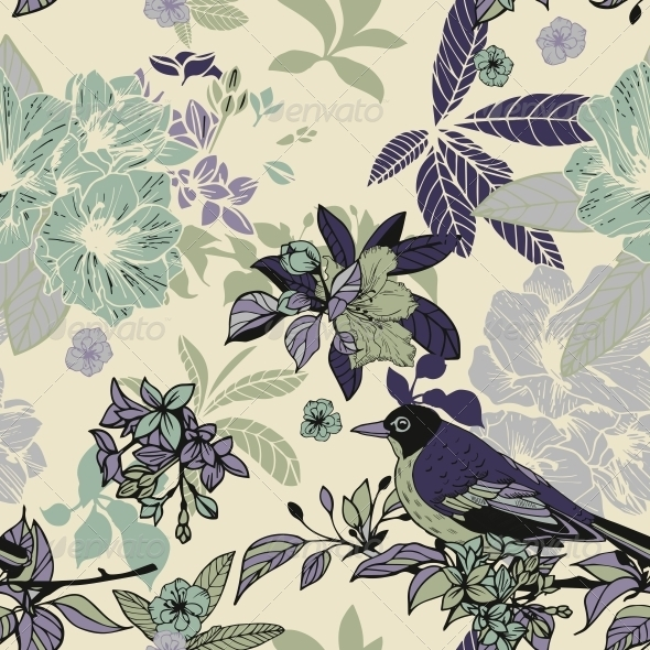 GraphicRiver Silk Flowers and Birds Seamless Pattern 6295892
