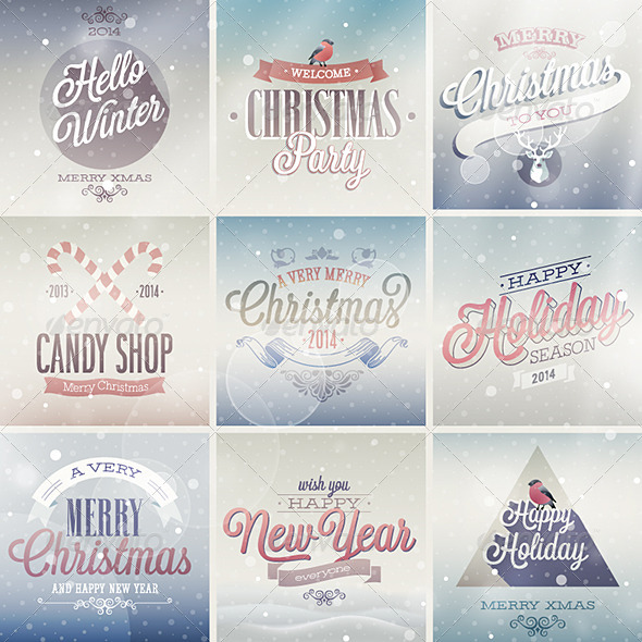 GraphicRiver Christmas Set of Labels and Emblems 6296413