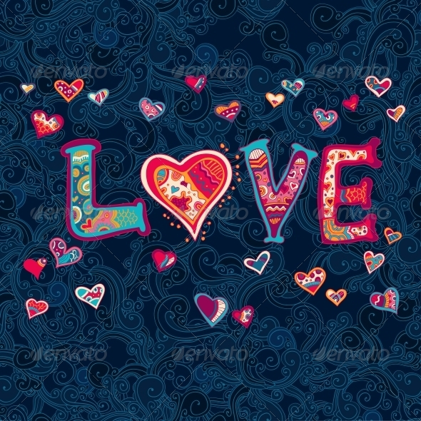 Word Love with Floral Ornament for your Design